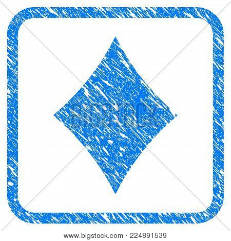 Diamonds Suit grunge textured icon inside rounded frame for overlay watermark imitations. Flat symbol with unclean texture. Framed vector blue rubber seal stamp with grunge design of diamonds suit.