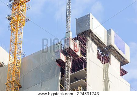Lift Elevator For Material Handling At Construction Site