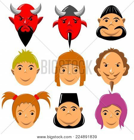 A set of human faces expressing emotions. Human faces with sad expressions. Human faces show sad emotions. People with sad faces. Human faces with wide smiles. Set of cheerful people with happy facial expressions. Vector illustration of a flat design, iso