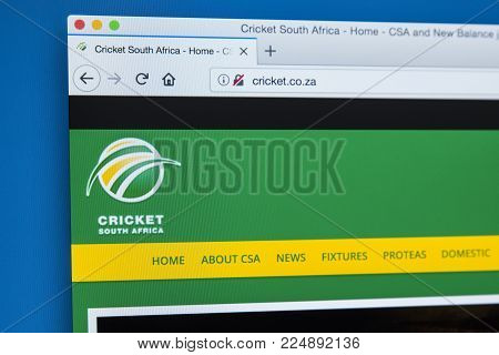 London, Uk - December 4th 2017: The Homepage Of The Official Website For Cricket South Africa - The