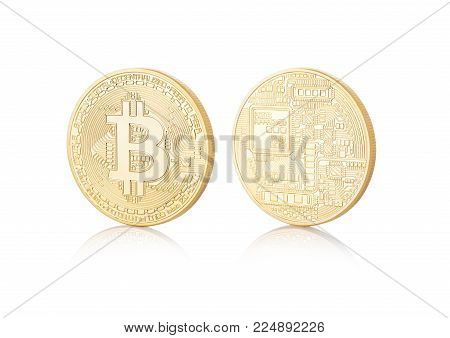 Bitcoin. Physical bit coin. Digital currency. Cryptocurrency. Golden coin with bitcoin symbol on white background with reflection