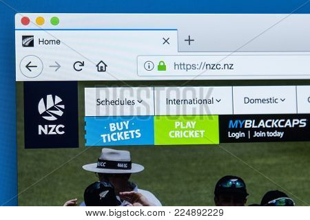 London, Uk - December 4th 2017: The Homepage Of The Official Website For New Zealand Cricket - The G