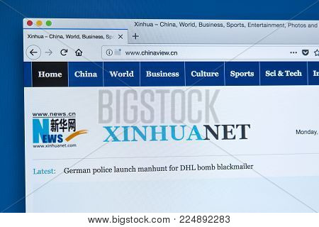 London, Uk - December 4th 2017: The Homepage Of The Official Website The Xinhua News Agency - The Of