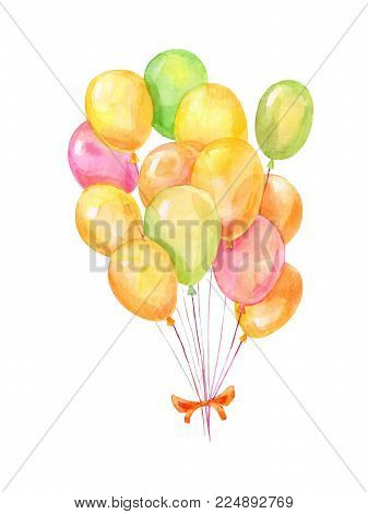 Watercolor bright ballons with helium on white background.