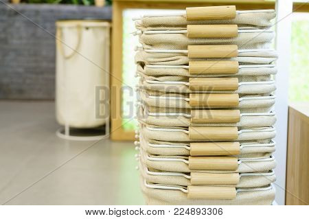 Retail Industry And Small Business Concept, Empty Shopping Basket Stacked To Provide Customers In Th