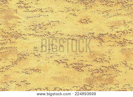 Yellow golden seamless stone texture venetian plaster style background pattern. Traditional venetian plaster stone texture grain drawing. Stone rock gold grunge texture interior decoration element. Golden plaster texture background