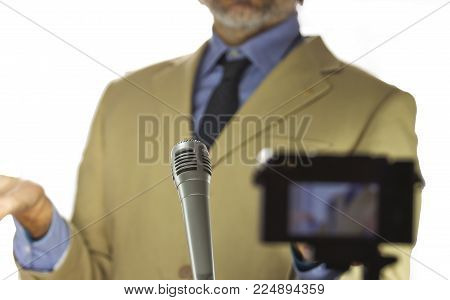 Out Of Focus Spokesman At Press Conference