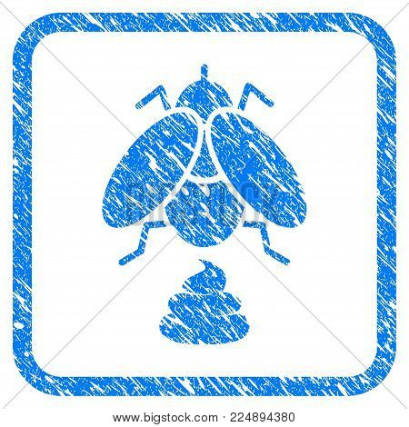 Fly Shit grainy textured icon inside rounded rectangle for overlay watermark stamps. Flat symbol with dirty texture. Framed vector blue rubber seal stamp with grunge design of fly shit.