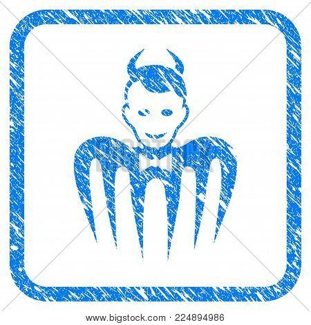 Gentleman Spectre Devil scratched textured icon inside rounded frame for overlay watermark stamps. Flat symbol with unclean texture.