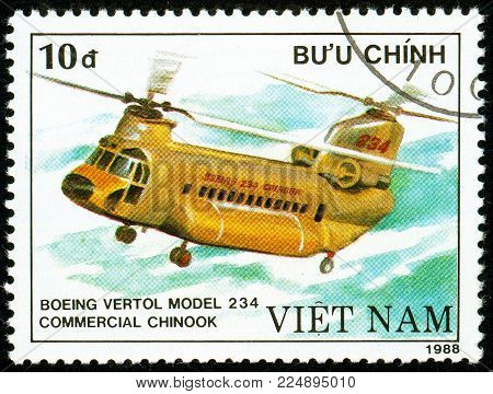 Illustrative editorial. Ukraine - circa 2018: A postage stamp printed in Vietnam show American heavy military transport helicopter Boeing Vetrol 234 - Boeing Vetrol 234. Circa 1988.