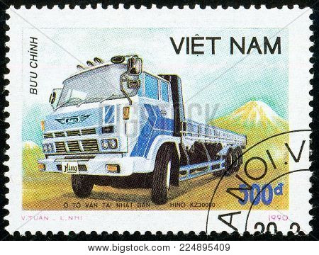 Illustrative editorial. Ukraine - circa 2018: A postage stamp printed in Vietnam show Japanese truck Himo KZ30000. Circa 1990.