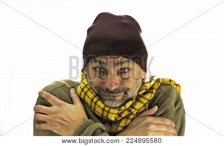 Smiling Mature Man Freezing Over White Background