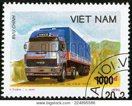 Illustrative editorial. Ukraine - circa 2018: A postage stamp printed in Vietnam show Truck tractor Iveco. Circa 1990.