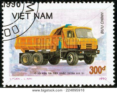 Illustrative editorial. Ukraine - circa 2018: A postage stamp printed in Vietnam show Czechoslovakian Truck Tatra 915 S1 - Tipper. Circa 1990.