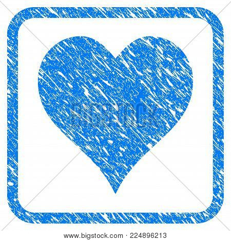 Hearts Suit grunge textured icon inside rounded square for overlay watermark stamps. Flat symbol with unclean texture. Framed vector blue rubber seal stamp with grunge design of hearts suit.