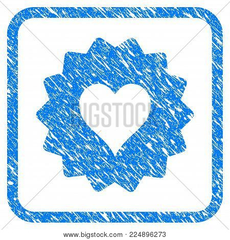 Hearts Token scratched textured icon inside rounded rectangle for overlay watermark imitations. Flat symbol with unclean texture.