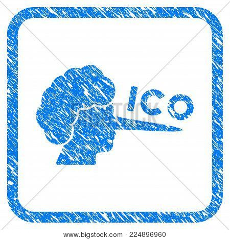 Ico Lier grainy textured icon inside rounded square for overlay watermark imitations. Flat symbol with scratched texture. Framed vector blue rubber seal stamp with grunge design of ICO lier.
