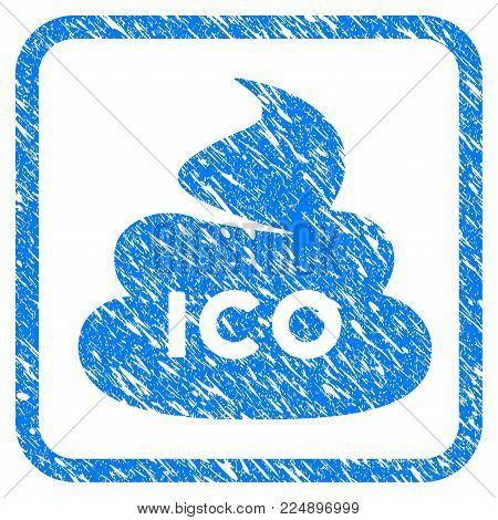Ico Shit grungy textured icon inside rounded rectangle for overlay watermark imitations. Flat symbol with unclean texture. Framed vector blue rubber seal stamp with grunge design of ICO shit.