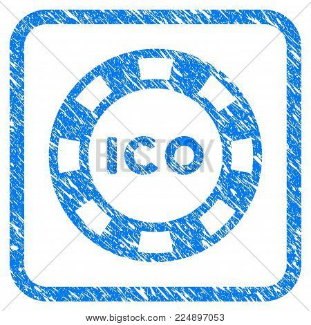 Ico Token scratched textured icon inside rounded rectangle for overlay watermark imitations. Flat symbol with dirty texture. Framed vector blue rubber seal stamp with grunge design of ico token.