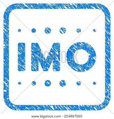 Imo Caption grainy textured icon inside rounded frame for overlay watermark stamps. Flat symbol with dust texture. Framed vector blue rubber seal stamp with grunge design of imo caption.