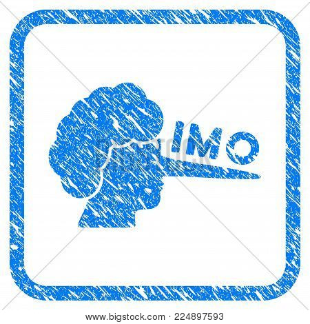 Imo Lier scratched textured icon inside rounded frame for overlay watermark imitations. Flat symbol with scratched texture. Framed vector blue rubber seal stamp with grunge design of IMO lier.