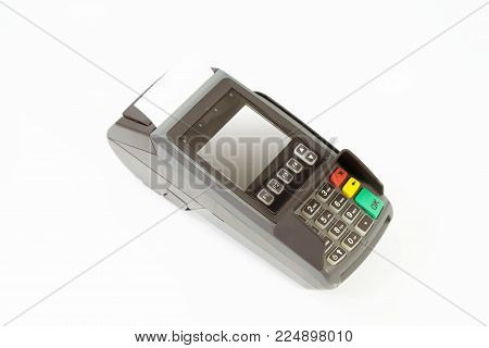 Credit card machine on isolated, Concept mobile business