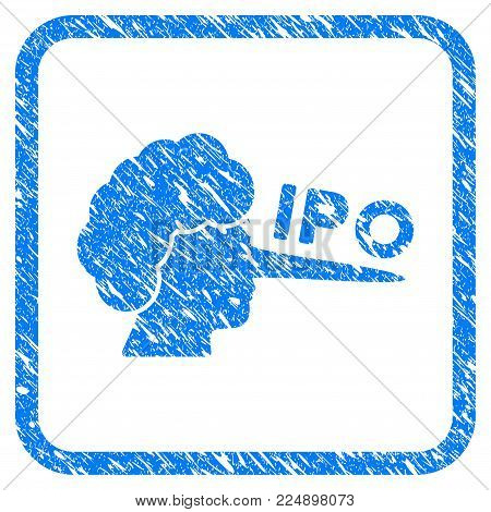 Ipo Lier grungy textured icon inside rounded square for overlay watermark stamps. Flat symbol with dust texture. Framed vector blue rubber seal stamp with grunge design of IPO lier.