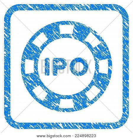 Ipo Token grainy textured icon inside rounded rectangle for overlay watermark imitations. Flat symbol with unclean texture. Framed vector blue rubber seal stamp with grunge design of ipo token.