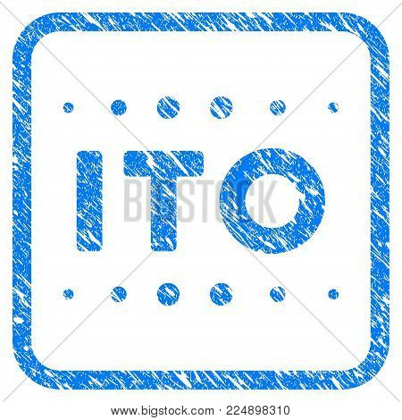 Ito Caption scratched textured icon inside rounded frame for overlay watermark stamps. Flat symbol with scratched texture. Framed vector blue rubber seal stamp with grunge design of ito caption.