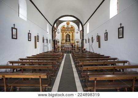 Lanzarote, Spain - Jan 18th 2018: The Chapel Of La Ermita De Los Dolores Located In The Municipality