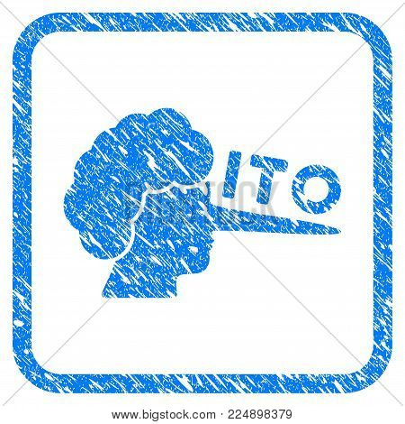 Ito Lier grainy textured icon inside rounded square for overlay watermark stamps. Flat symbol with dirty texture. Framed vector blue rubber seal stamp with grunge design of ITO lier.