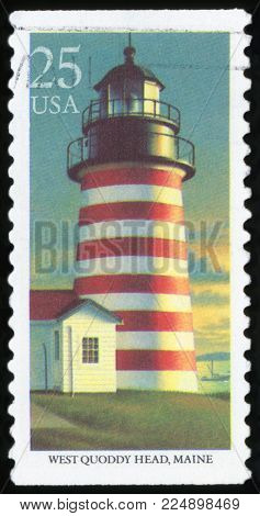UNITED STATES - CIRCA 1990: stamp printed by United states, shows lighthouse, West Quoddy Head, circa 1990