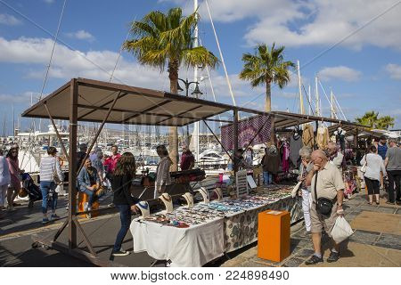 Lanzarote, Spain - January 20th 2018: A View Of The Market Held At Marina Rubicon In Playa Blanca, L