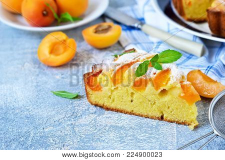 Homemade cake with apricots and nectarines on a concrete background.