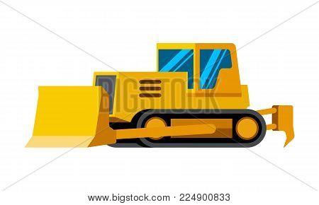 Dozer minimalistic icon isolated. Construction equipment isolated vector. Heavy equipment vehicle. Color icon illustration on white background.