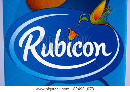 London, Uk - December 18th 2017: A Close-up Of The Logo For Rubicon - The Uk Soft Drink Manufacturer