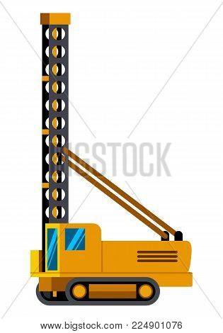 Mining rotary drill minimalistic icon isolated. Construction equipment isolated vector. Heavy equipment vehicle. Color icon illustration on white background.