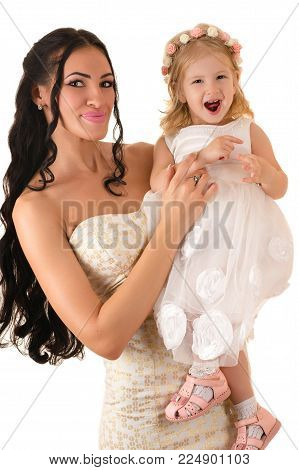 smiling woman with a daughter isolated on white background
