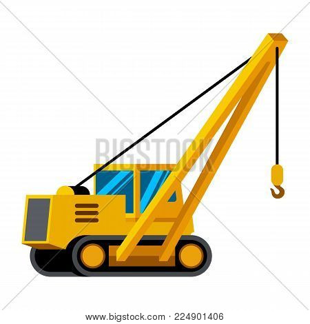 Pipelayer vehicle minimalistic icon isolated. Construction equipment isolated vector. Heavy equipment vehicle. Color icon illustration on white background.