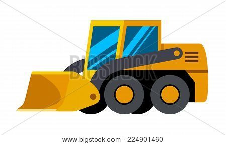 Wheeled skid steer loader minimalistic icon isolated. Construction equipment isolated vector. Heavy equipment vehicle. Color icon illustration on white background.
