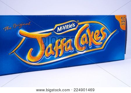 London, Uk - December 18th 2017: An Unopened Pack Of Jaffa Cakes, Manufactured By Mcvities, On 18th