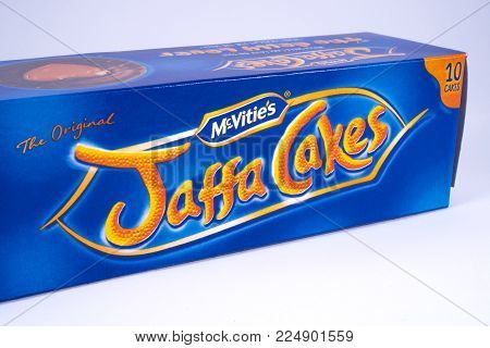 LONDON, UK - DECEMBER 18TH 2017: An unopened pack of Jaffa Cakes, manufactured by McVities, on 18th December 2017.