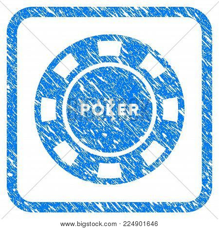Poker Casino Chip scratched textured icon inside rounded frame for overlay watermark imitations. Flat symbol with scratched texture.