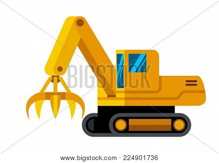 Tracked material handler machine minimalistic icon isolated. Construction equipment isolated vector. Heavy equipment vehicle. Color icon illustration on white background.