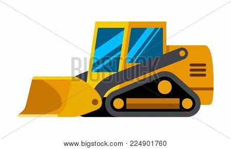 Tracked skid steer loader minimalistic icon isolated. Construction equipment isolated vector. Heavy equipment vehicle. Color icon illustration on white background.
