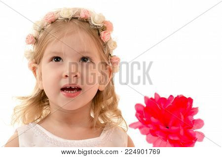 portrait smiling charming girl with rim on head
