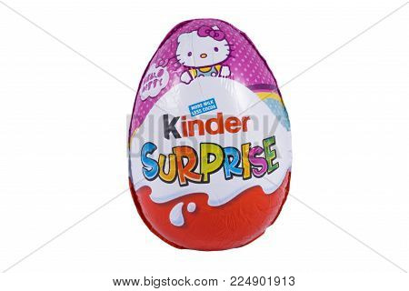LONDON, UK - DECEMBER 18TH 2017: A Kinder Surprise, or also known as a Kinder Egg, manufactured by Italian company Ferrero, on 18th December 2017.
