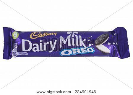 LONDON, UK - DECEMBER 18TH 2017: A Dairy Milk Oreo chocolate bar, manufactured by Cadbury, on 18th December 2017.