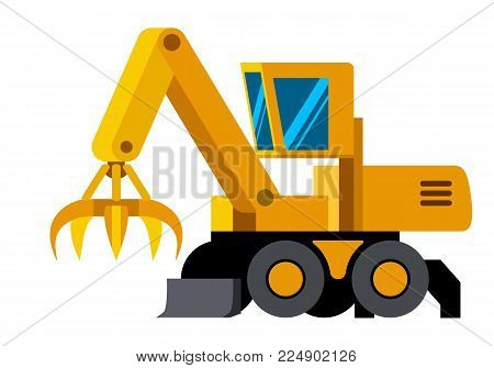 Wheeled Material Handler Machine Minimalistic Icon Isolated Construction Equipment Vector Heavy Vehicle