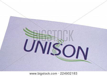 London, Uk - December 18th 2017: Close-up Of The Unison Logo On A Leaflet, On 18th December 2017.  U